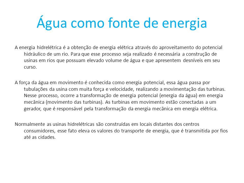 Água como fonte de energia A energia hidrelétrica é a obtenção de energia elétrica através do aproveitamento do potencial hidráulico de um rio.