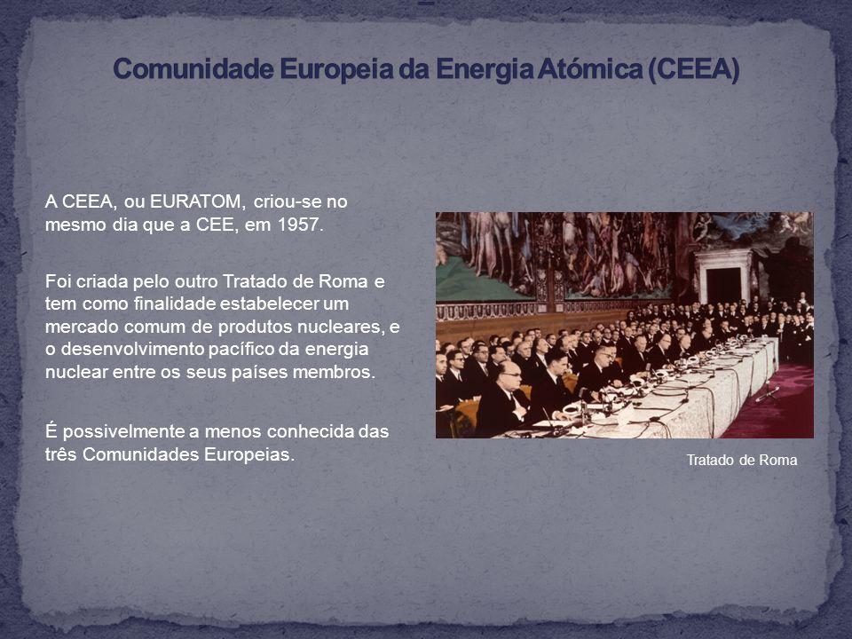 A CEEA, ou EURATOM, criou-se no mesmo dia que a CEE, em 1957.