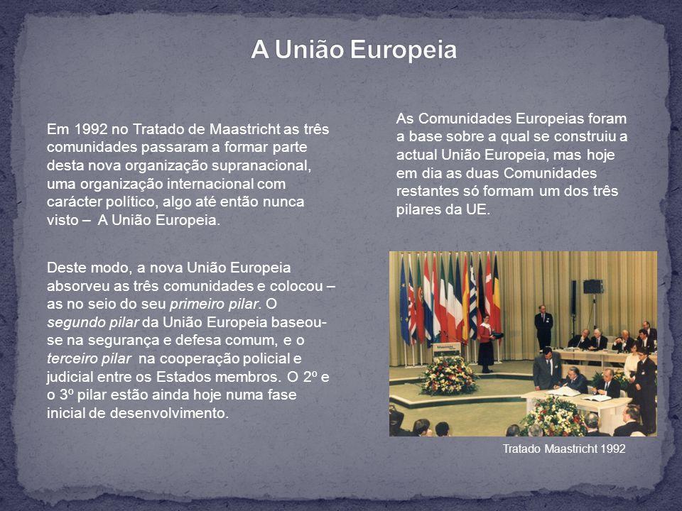 Em 1992 no Tratado de Maastricht as três comunidades passaram a formar parte desta nova organização supranacional, uma organização internacional com carácter político, algo até então nunca visto – A União Europeia.