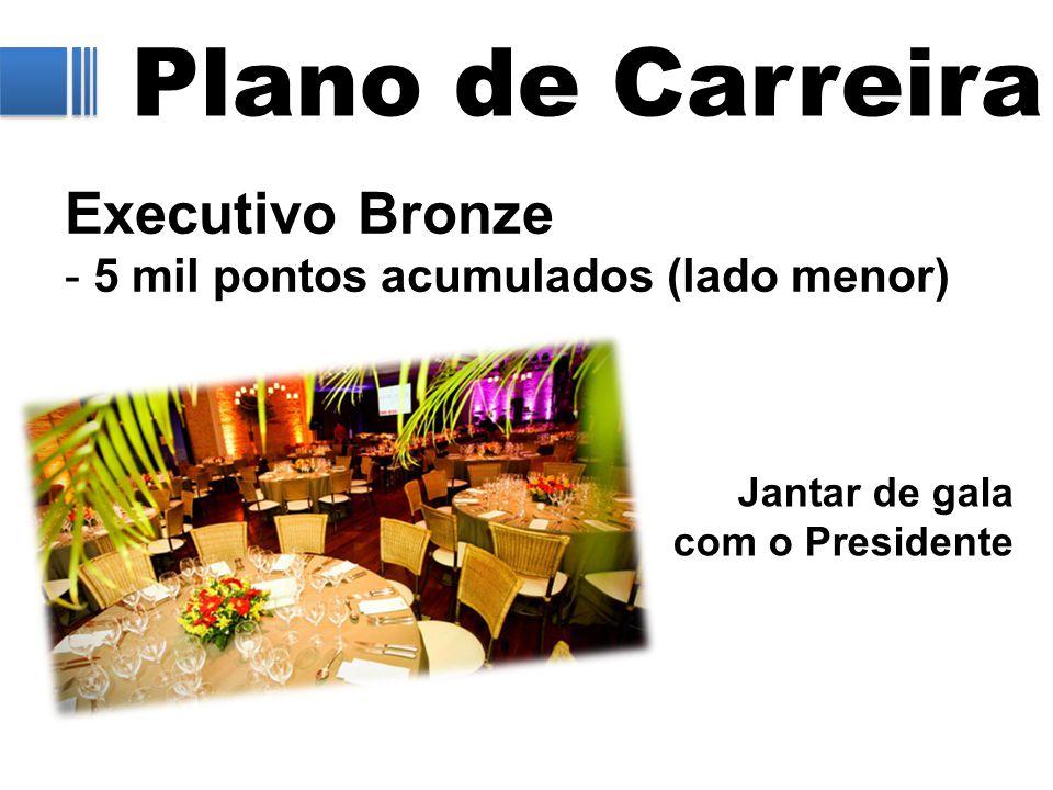 Plano de Carreira Executivo Bronze - 5 mil pontos acumulados (lado menor) Jantar de gala com o Presidente