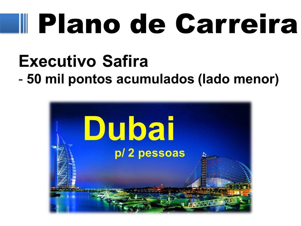 Plano de Carreira Executivo Safira - 50 mil pontos acumulados (lado menor) Dubai p/ 2 pessoas