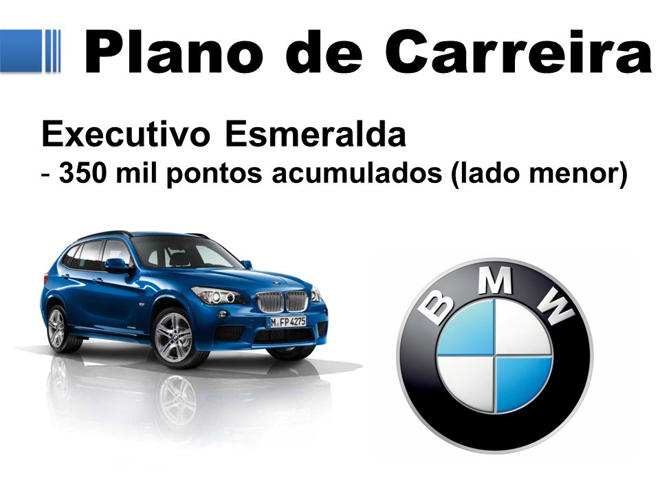 Plano de Carreira Executivo Esmeralda - 350 mil pontos acumulados (lado menor)