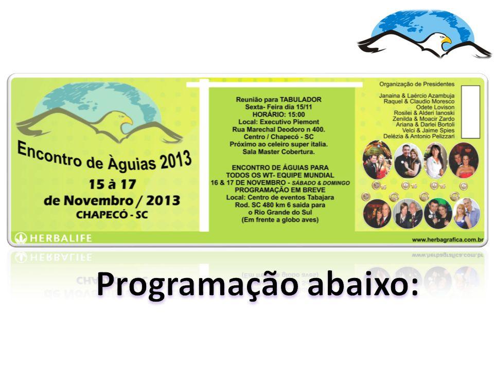 Organização de Presidentes Janaina & Laércio Azambuja Raquel & Claudio Moresco Odete Lovison Rosilei & Alderi Ianoski Zenilda & Moacir Zardo Delézia & Antonio Pelizzari Ariana & Darlei Bortoli Velci & Jaime Spies  Reunião de Presidentes- Quinta-Feira 14/11 HORÁRIO: 19h;  Reunião Presidentes e Milionários Subcomitê do Sul : Sexta-Feira 15/11 HORÁRIO: 10:00;  Reunião para TABULADORES Sexta- Feira dia 15/11 HORÁRIO: 15:00  Reunião para AWT2013 e 1000RO Sexta-Feira HORÁRIO: 17:00 Local: Executivo Piemont Rua Marechal Deodoro n 400.Centro.