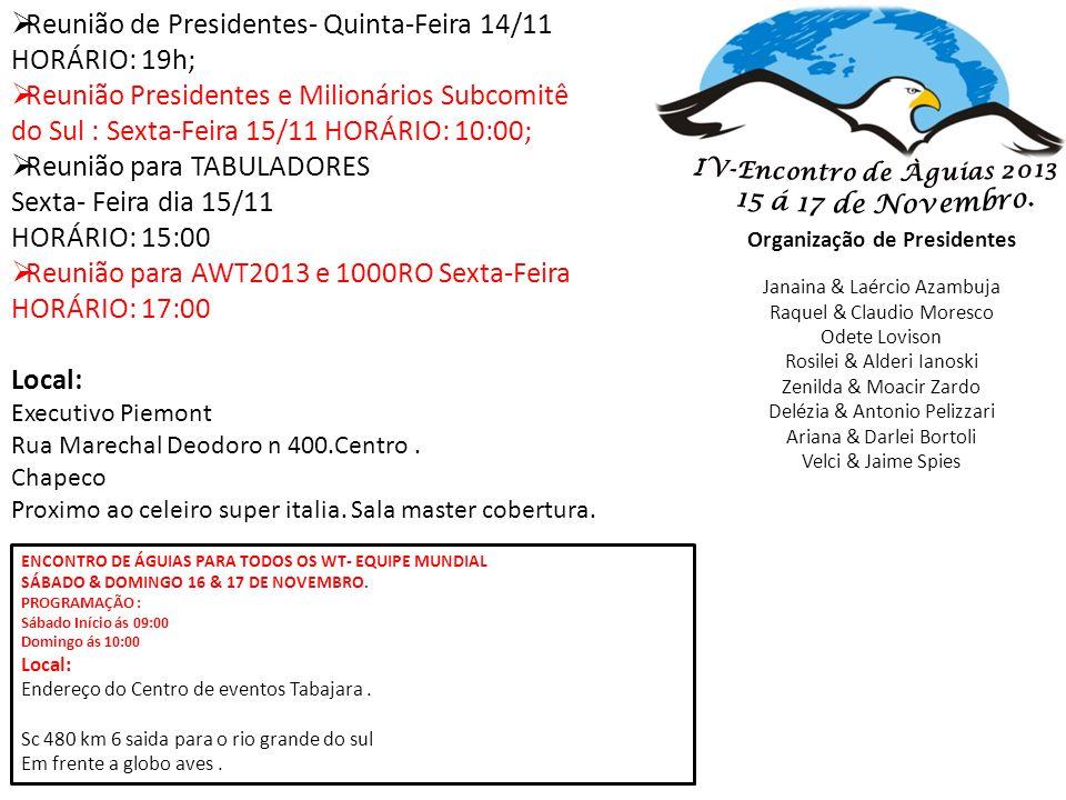 Organização de Presidentes Janaina & Laércio Azambuja Raquel & Claudio Moresco Odete Lovison Rosilei & Alderi Ianoski Zenilda & Moacir Zardo Delézia &
