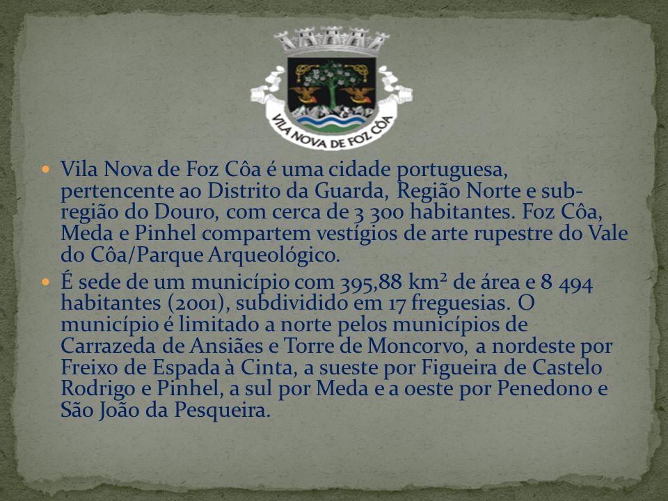 Vila Nova de Foz Côa é uma cidade portuguesa, pertencente ao Distrito da Guarda, Região Norte e sub- região do Douro, com cerca de 3 300 habitantes. F
