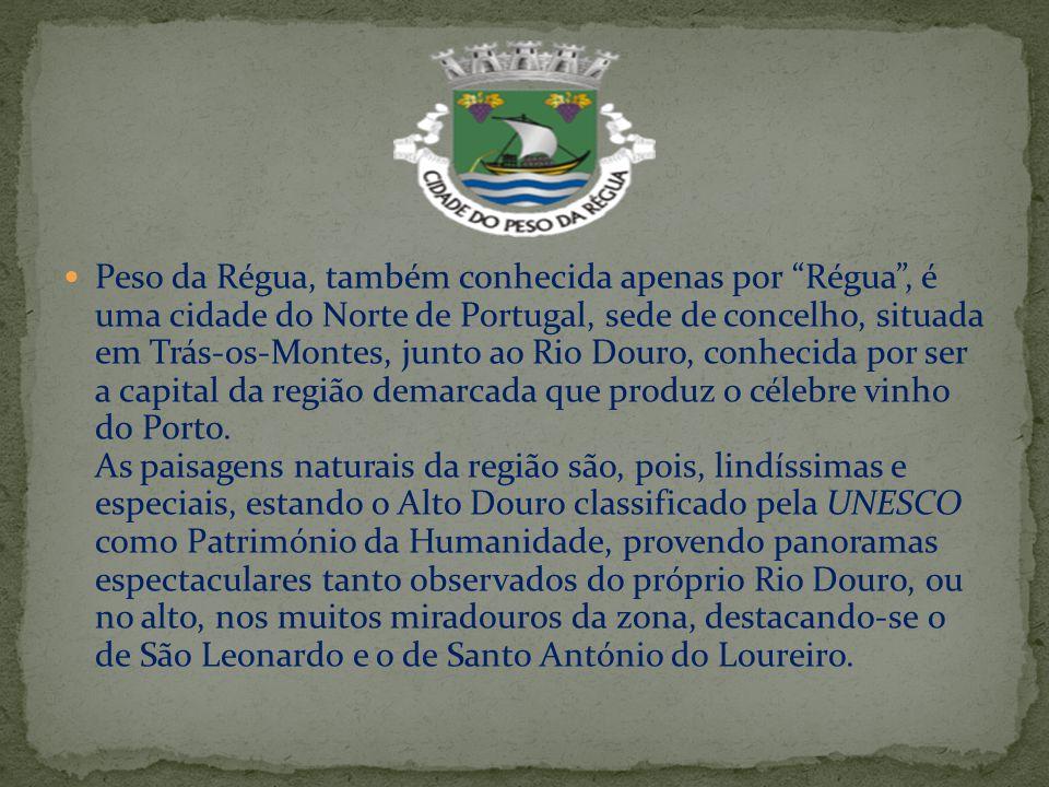 """Peso da Régua, também conhecida apenas por """"Régua"""", é uma cidade do Norte de Portugal, sede de concelho, situada em Trás-os-Montes, junto ao Rio Douro"""