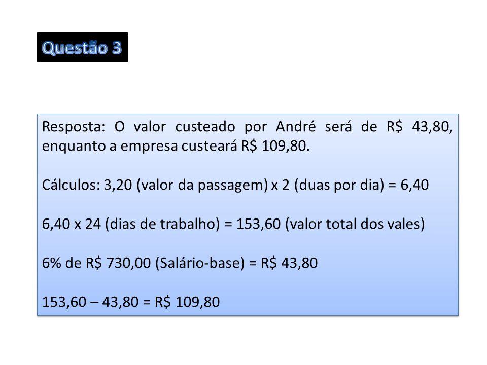 Resposta: O valor custeado por André será de R$ 43,80, enquanto a empresa custeará R$ 109,80. Cálculos: 3,20 (valor da passagem) x 2 (duas por dia) =