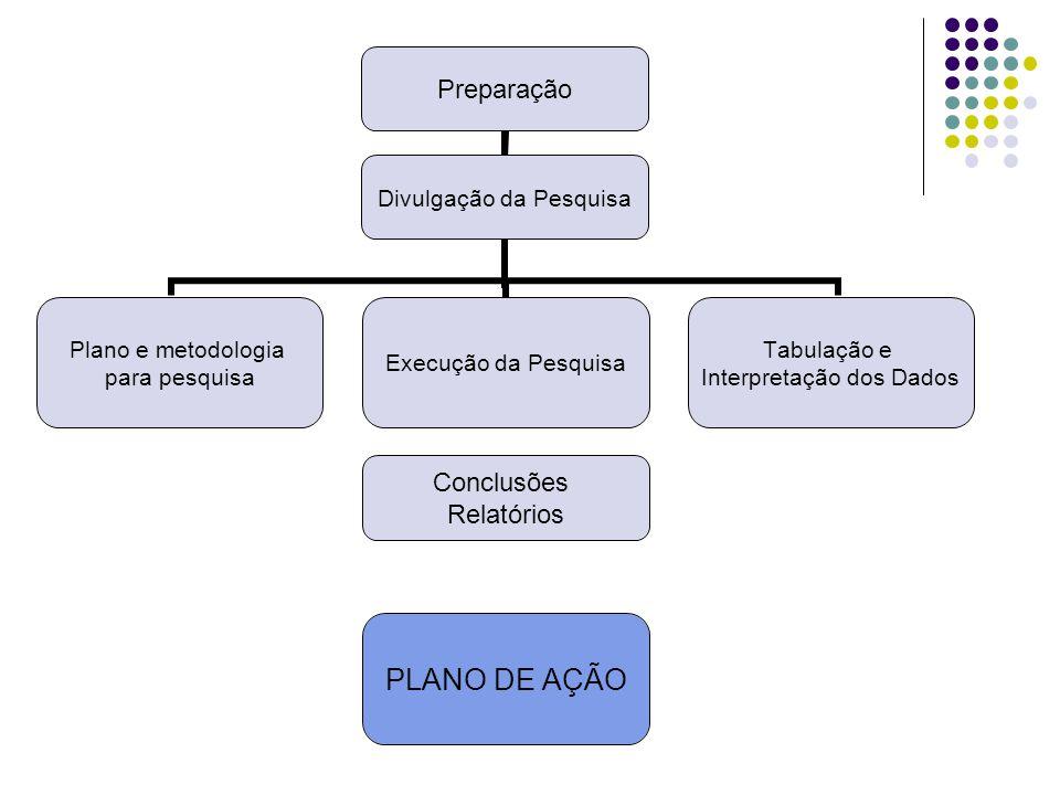 Preparação Divulgação da Pesquisa Plano e metodologia para pesquisa Execução da Pesquisa Conclusões Relatórios PLANO DE AÇÃO Tabulação e Interpretação