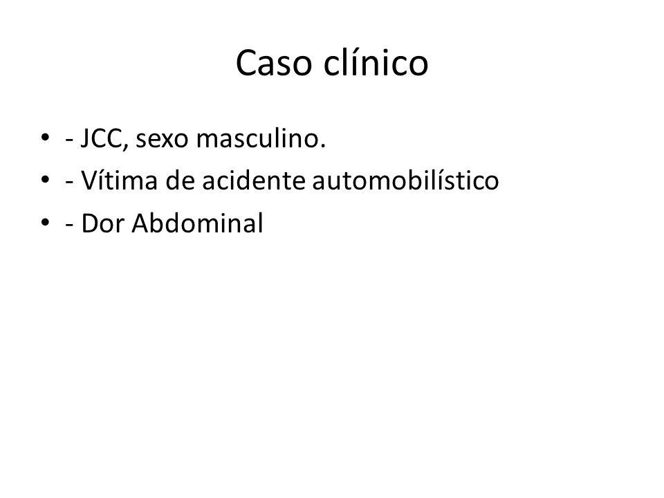 Caso clínico - JCC, sexo masculino. - Vítima de acidente automobilístico - Dor Abdominal