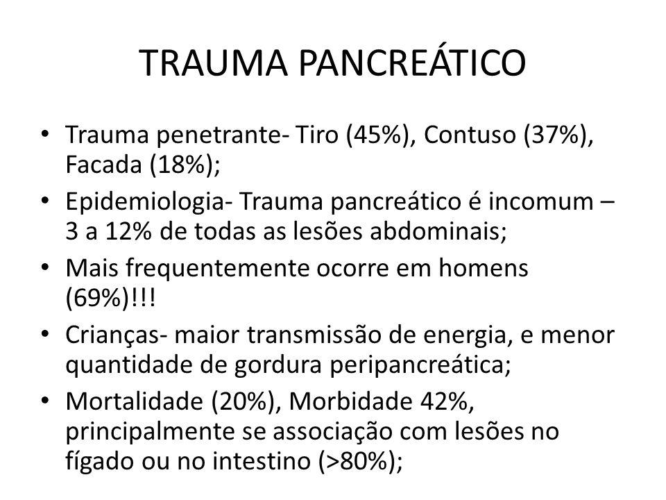 TRAUMA PANCREÁTICO Trauma penetrante- Tiro (45%), Contuso (37%), Facada (18%); Epidemiologia- Trauma pancreático é incomum – 3 a 12% de todas as lesões abdominais; Mais frequentemente ocorre em homens (69%)!!.