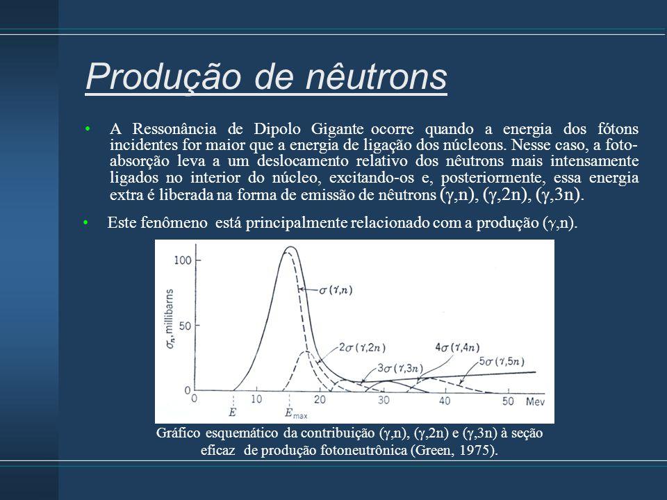 Produção de nêutrons A Ressonância de Dipolo Gigante ocorre quando a energia dos fótons incidentes for maior que a energia de ligação dos núcleons. Ne