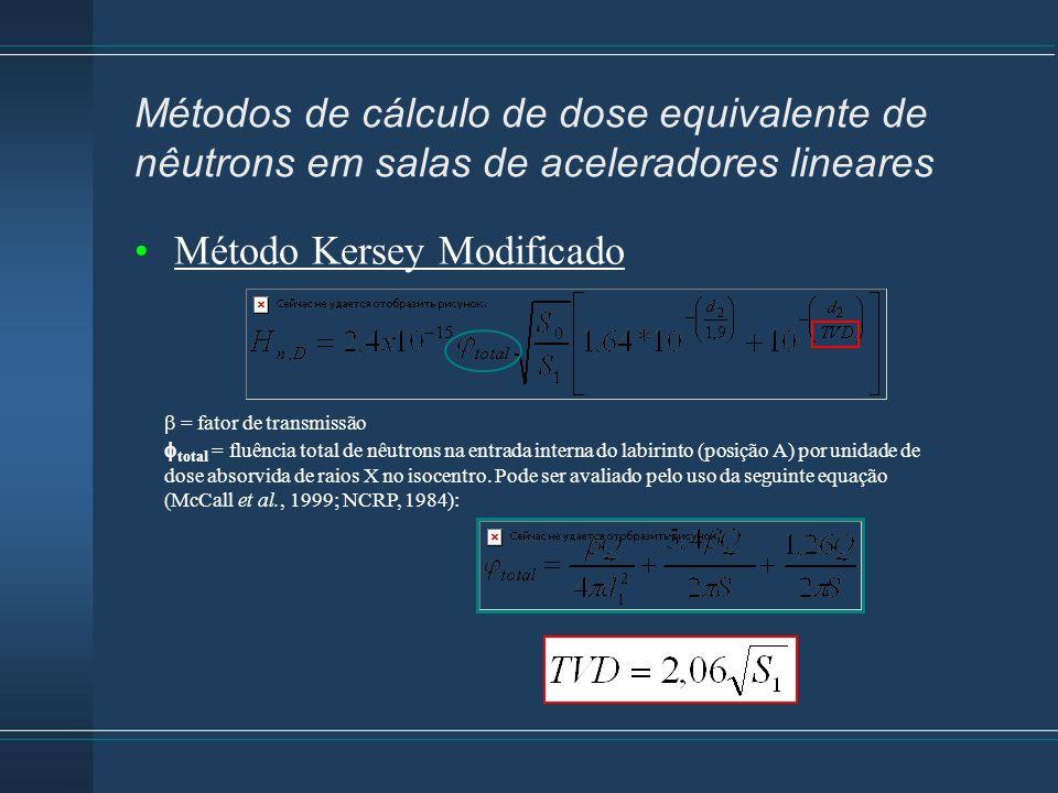 Método Kersey Modificado  = fator de transmissão  total = fluência total de nêutrons na entrada interna do labirinto (posição A) por unidade de dose