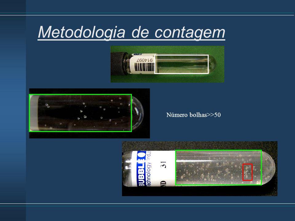Metodologia de contagem Número bolhas>>50