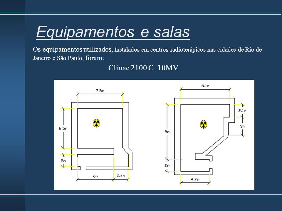 Os equipamentos utilizados, i nstalados em centros radioterápicos nas cidades de Rio de Janeiro e São Paulo, foram: Equipamentos e salas Clinac 2100 C