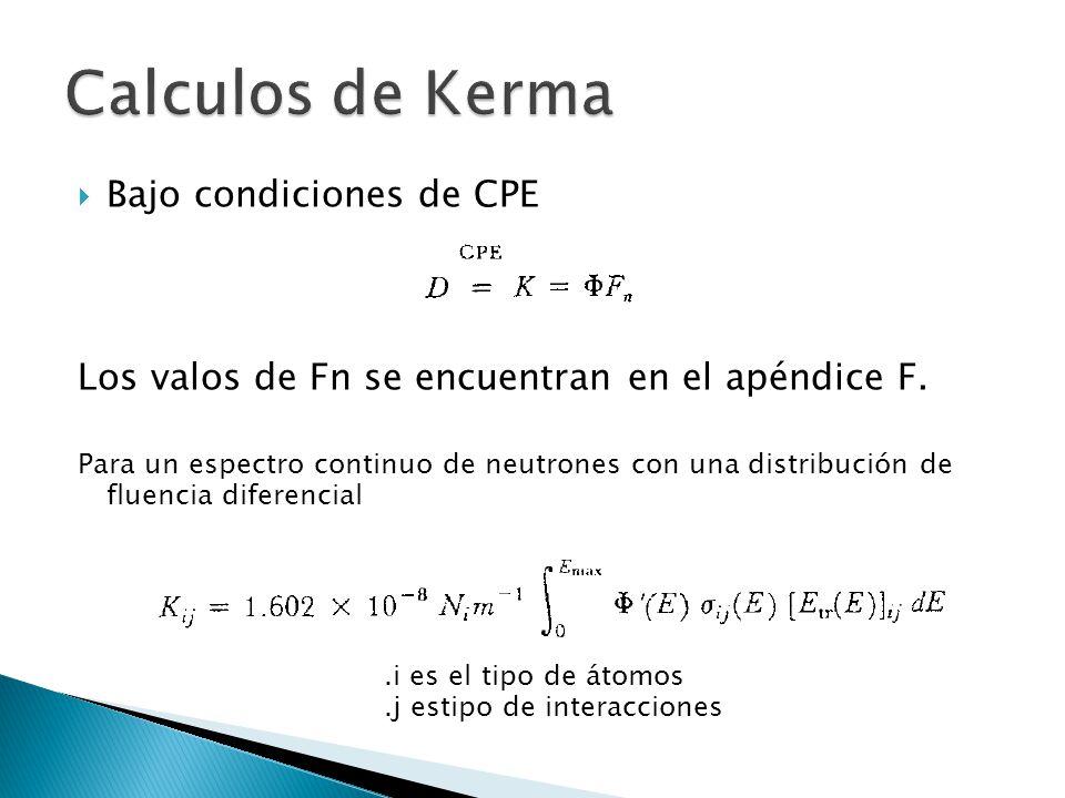  Bajo condiciones de CPE Los valos de Fn se encuentran en el apéndice F. Para un espectro continuo de neutrones con una distribución de fluencia dife