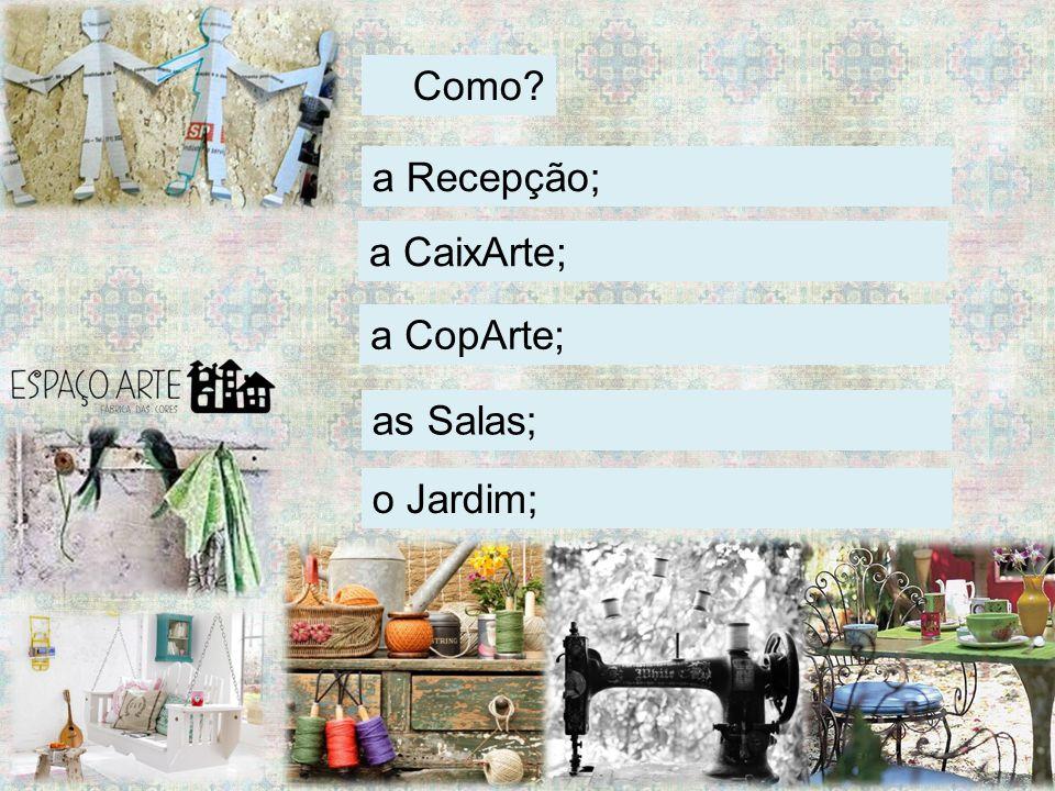 Como a CaixArte; a CopArte; a Recepção; as Salas; o Jardim;