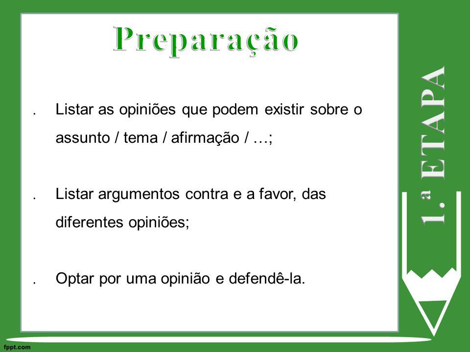 Listar as opiniões que podem existir sobre o assunto / tema / afirmação / …; Listar argumentos contra e a favor, das diferentes opiniões; Optar por uma opinião e defendê-la.