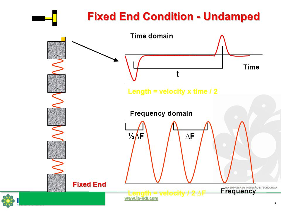 www.ib-ndt.com 6 Time Fixed End Condition - Undamped Time domain Length = velocity x time / 2 Frequency Frequency domain ∆F½∆F Length = velocity / 2 ∆F t Fixed End