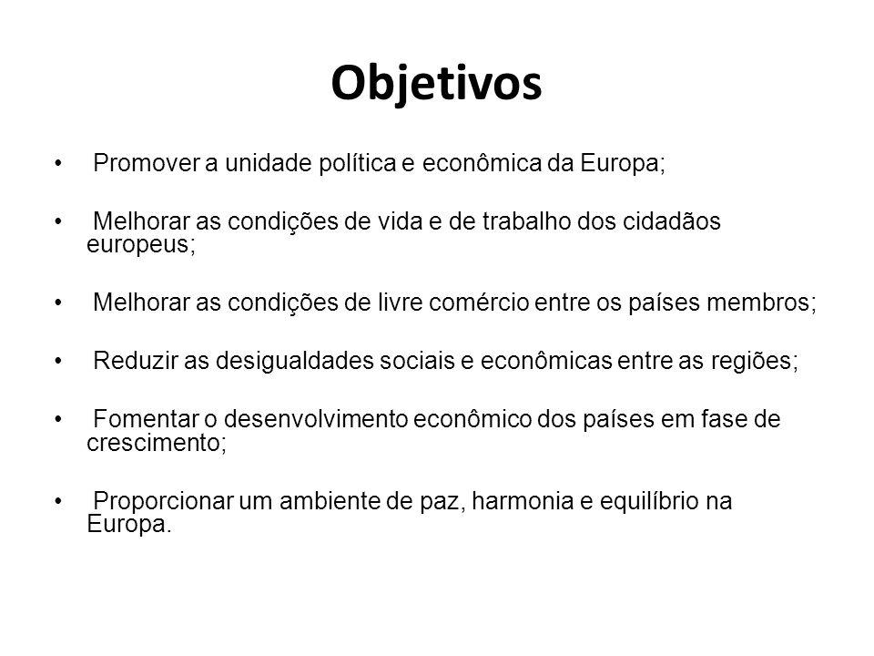 Objetivos Promover a unidade política e econômica da Europa; Melhorar as condições de vida e de trabalho dos cidadãos europeus; Melhorar as condições