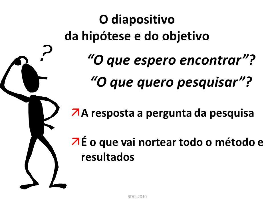 """O diapositivo da hipótese e do objetivo """"O que espero encontrar""""? """"O que quero pesquisar""""?  A resposta a pergunta da pesquisa  É o que vai nortear t"""