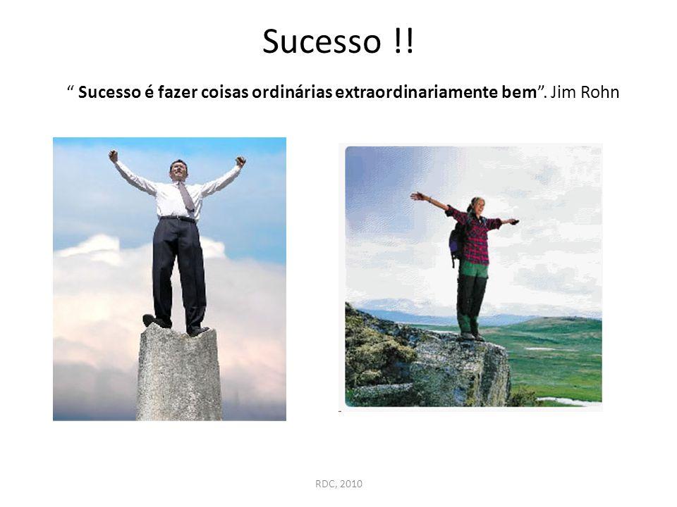 """Sucesso !! """" Sucesso é fazer coisas ordinárias extraordinariamente bem"""". Jim Rohn RDC, 2010"""