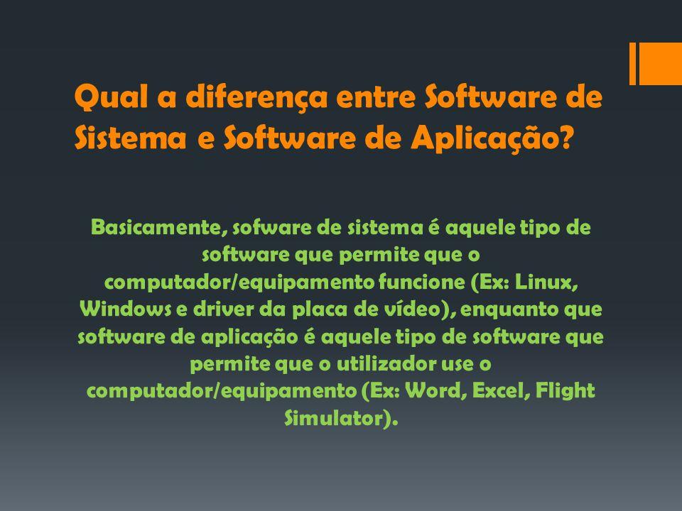 Qual a diferença entre Software de Sistema e Software de Aplicação.