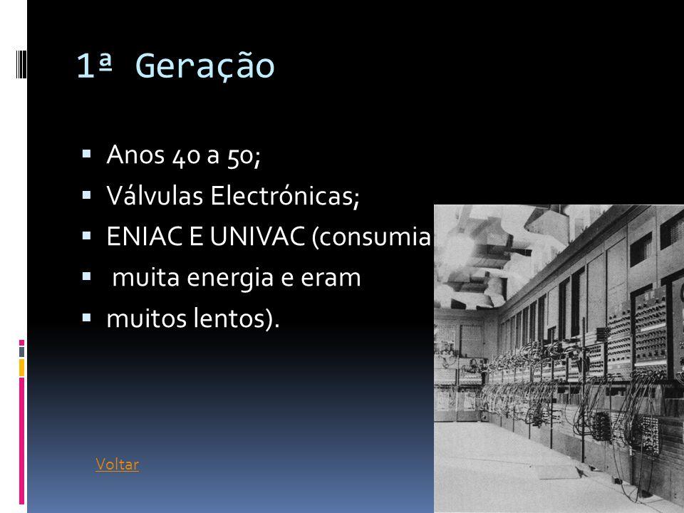 1ª Geração  Anos 40 a 50;  Válvulas Electrónicas;  ENIAC E UNIVAC (consumiam  muita energia e eram  muitos lentos).