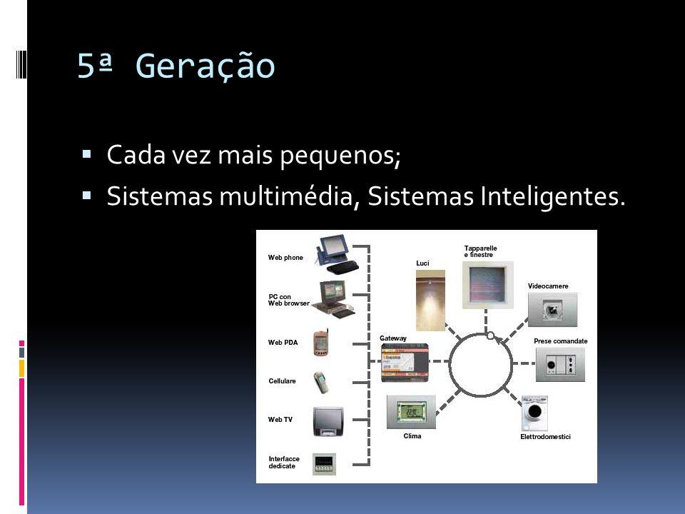 5ª Geração  Cada vez mais pequenos;  Sistemas multimédia, Sistemas Inteligentes.