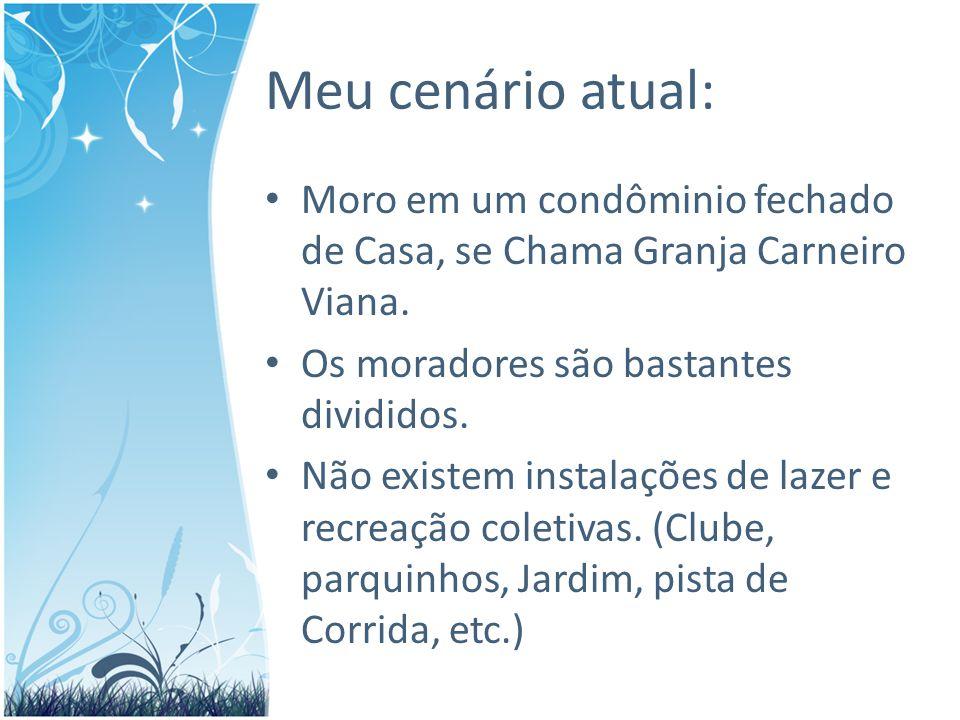 Meu cenário atual: Moro em um condôminio fechado de Casa, se Chama Granja Carneiro Viana.