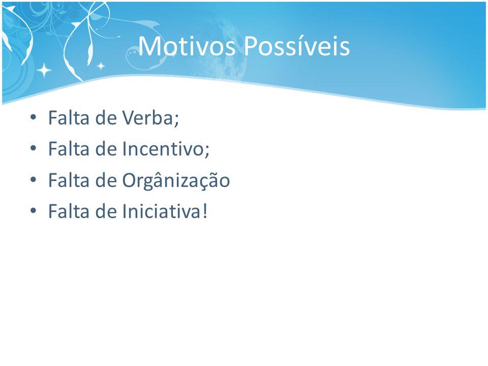 Motivos Possíveis Falta de Verba; Falta de Incentivo; Falta de Orgânização Falta de Iniciativa!