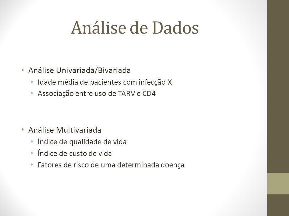 Análise de Dados Análise Univariada/Bivariada Idade média de pacientes com infecção X Associação entre uso de TARV e CD4 Análise Multivariada Índice d