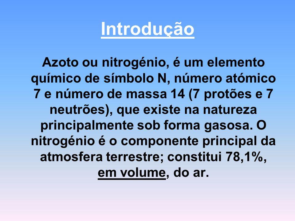 Introdução Azoto ou nitrogénio, é um elemento químico de símbolo N, número atómico 7 e número de massa 14 (7 protões e 7 neutrões), que existe na natureza principalmente sob forma gasosa.