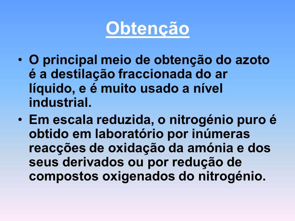 Obtenção O principal meio de obtenção do azoto é a destilação fraccionada do ar líquido, e é muito usado a nível industrial. Em escala reduzida, o nit