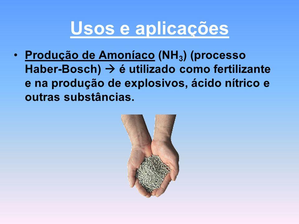 Usos e aplicações Produção de Amoníaco (NH 3 ) (processo Haber-Bosch)  é utilizado como fertilizante e na produção de explosivos, ácido nítrico e outras substâncias.