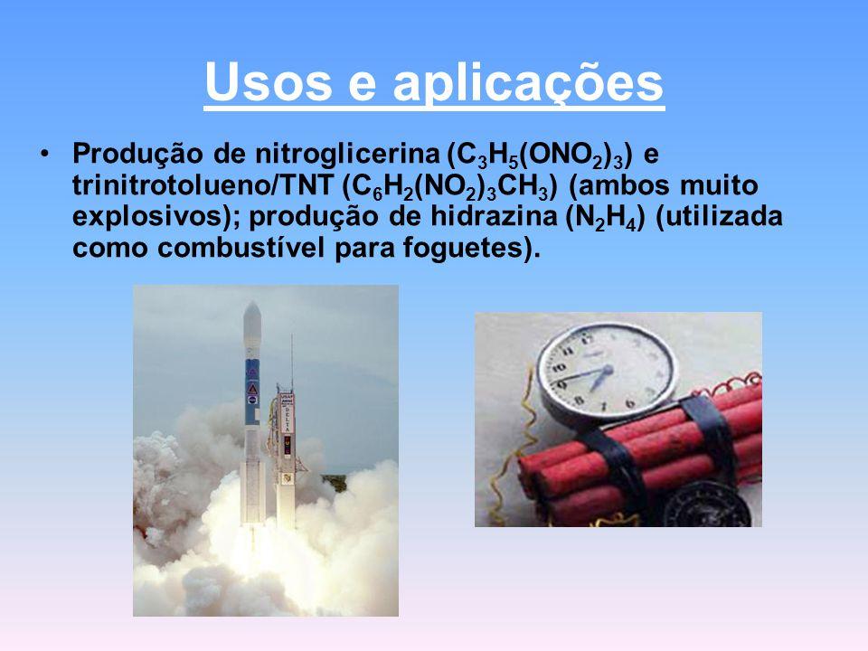 Usos e aplicações Produção de nitroglicerina (C 3 H 5 (ONO 2 ) 3 ) e trinitrotolueno/TNT (C 6 H 2 (NO 2 ) 3 CH 3 ) (ambos muito explosivos); produção de hidrazina (N 2 H 4 ) (utilizada como combustível para foguetes).