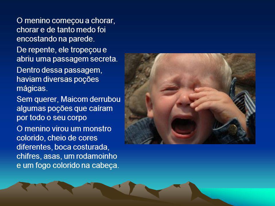 O menino começou a chorar, chorar e de tanto medo foi encostando na parede. De repente, ele tropeçou e abriu uma passagem secreta. Dentro dessa passag