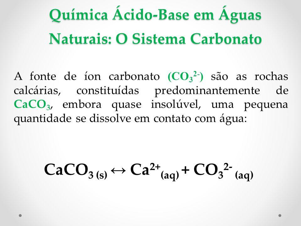 Química Ácido-Base em Águas Naturais: O Sistema Carbonato A fonte de íon carbonato (CO 3 2- ) são as rochas calcárias, constituídas predominantemente de CaCO 3, embora quase insolúvel, uma pequena quantidade se dissolve em contato com água: CaCO 3 (s) ↔ Ca 2+ (aq) + CO 3 2- (aq)