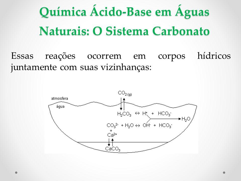 Química Ácido-Base em Águas Naturais: O Sistema Carbonato Essas reações ocorrem em corpos hídricos juntamente com suas vizinhanças: