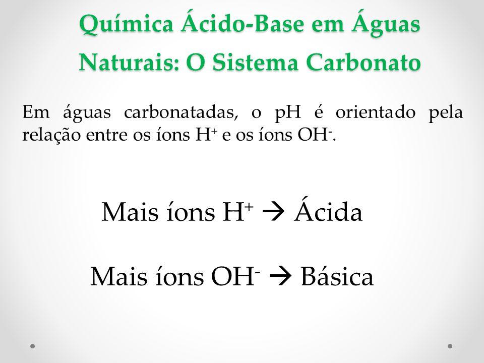 Química Ácido-Base em Águas Naturais: O Sistema Carbonato Em águas carbonatadas, o pH é orientado pela relação entre os íons H + e os íons OH -.