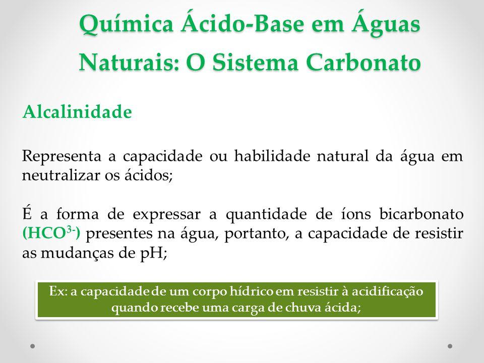 Química Ácido-Base em Águas Naturais: O Sistema Carbonato Alcalinidade Representa a capacidade ou habilidade natural da água em neutralizar os ácidos; É a forma de expressar a quantidade de íons bicarbonato (HCO 3- ) presentes na água, portanto, a capacidade de resistir as mudanças de pH; Ex: a capacidade de um corpo hídrico em resistir à acidificação quando recebe uma carga de chuva ácida;
