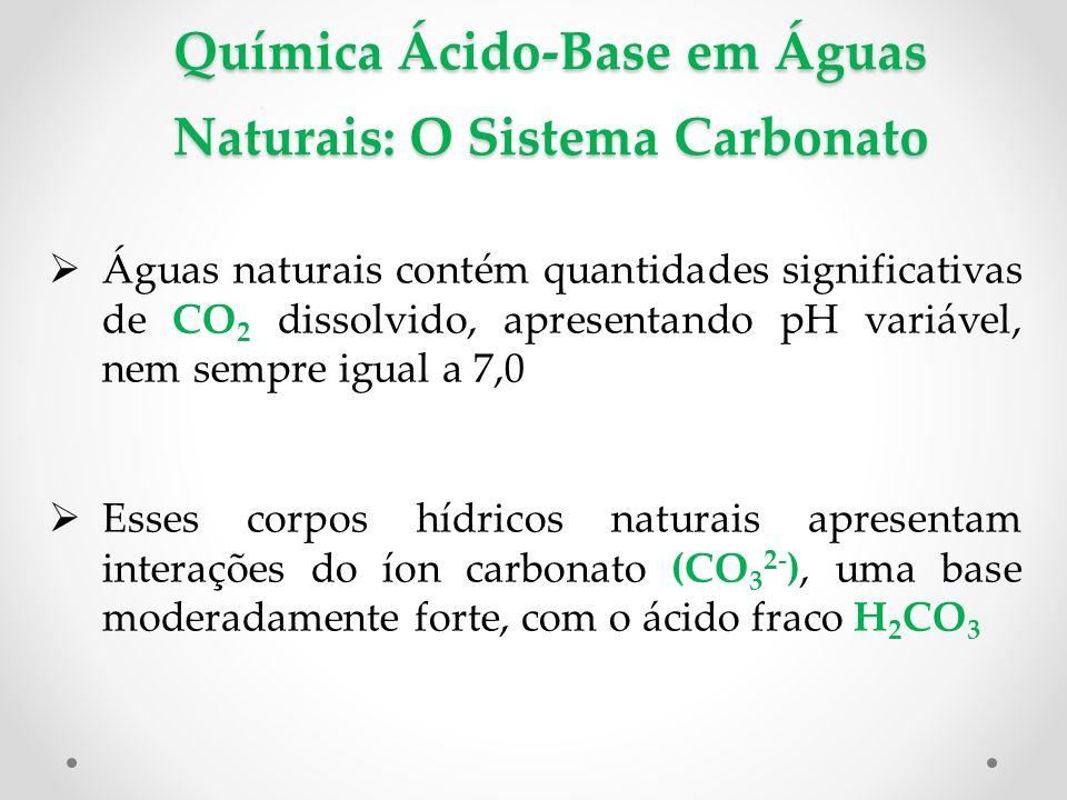 Química Ácido-Base em Águas Naturais: O Sistema Carbonato  Águas naturais contém quantidades significativas de CO 2 dissolvido, apresentando pH variável, nem sempre igual a 7,0  Esses corpos hídricos naturais apresentam interações do íon carbonato (CO 3 2- ), uma base moderadamente forte, com o ácido fraco H 2 CO 3