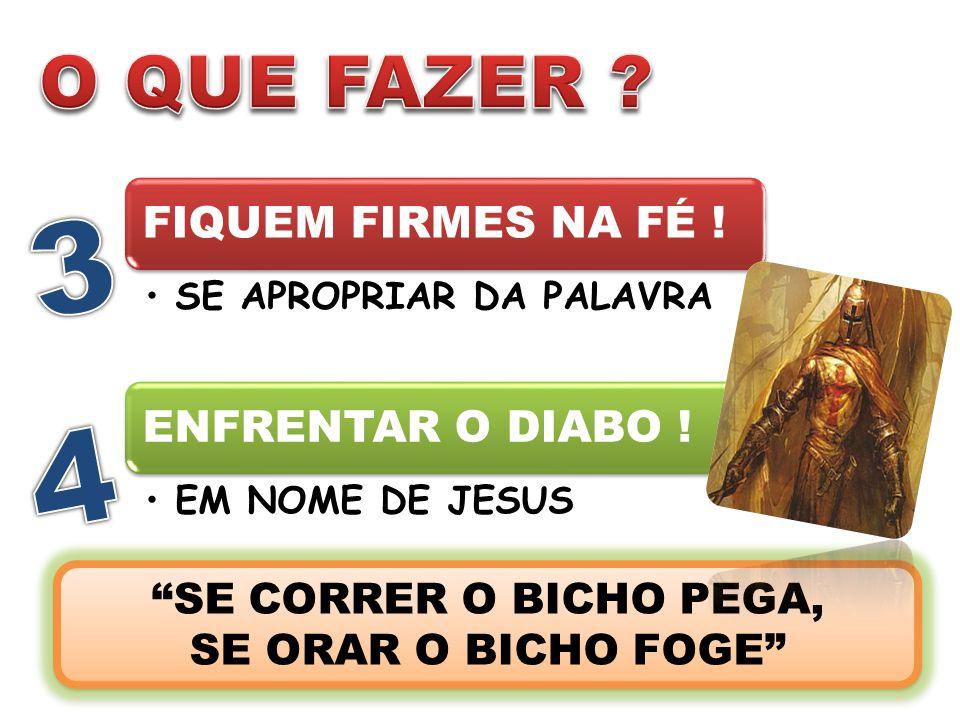 """FIQUEM FIRMES NA FÉ ! SE APROPRIAR DA PALAVRA ENFRENTAR O DIABO ! EM NOME DE JESUS """"SE CORRER O BICHO PEGA, SE ORAR O BICHO FOGE"""" """"SE CORRER O BICHO P"""