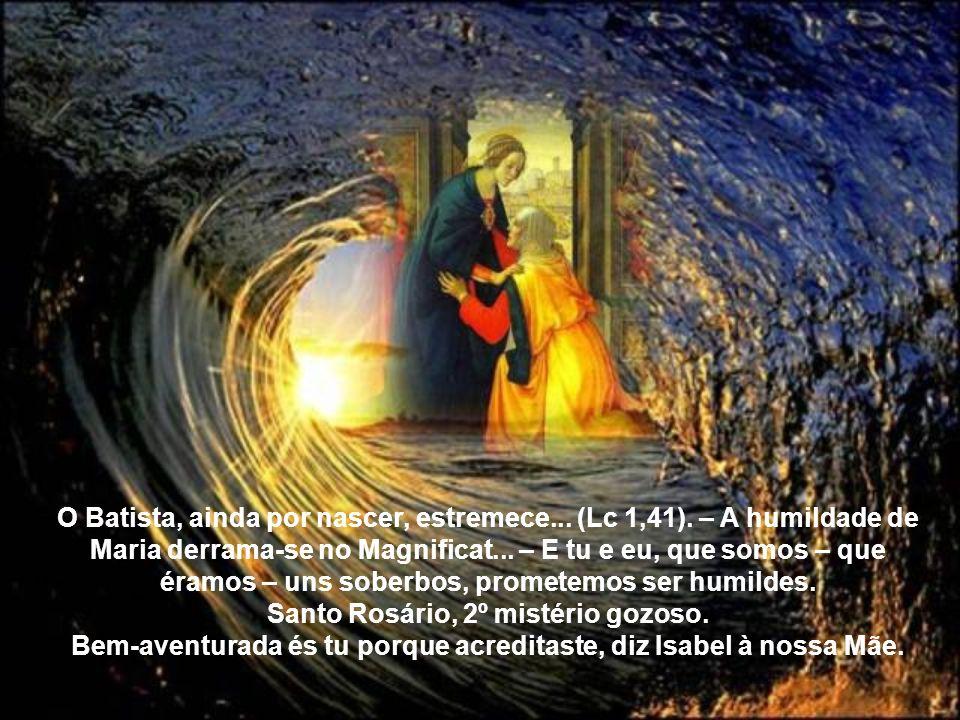 """""""Bendita és tu entre as mulheres e bendito é o fruto do teu ventre. Donde me vem esta honra de vir a mim a mãe de meu Senhor? Pois assim que a voz de"""