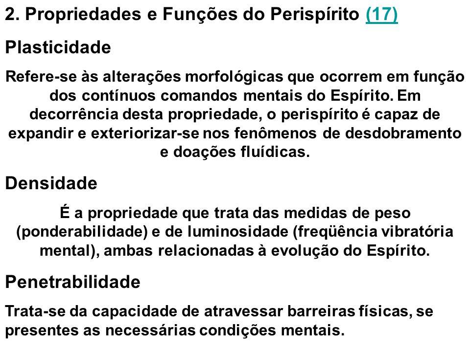 2. Propriedades e Funções do Perispírito (17)(17) Plasticidade Refere-se às alterações morfológicas que ocorrem em função dos contínuos comandos menta