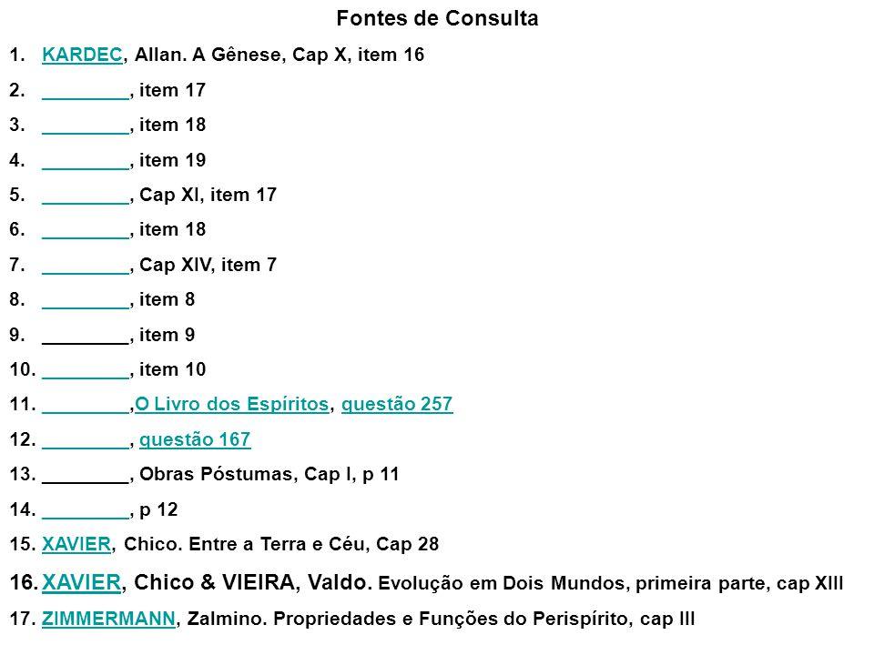 Fontes de Consulta 1.KARDEC, Allan. A Gênese, Cap X, item 16KARDEC 2.________, item 17________ 3.________, item 18________ 4.________, item 19________