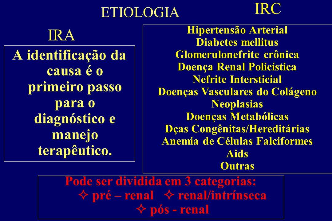 IRA Síndrome caracterizada por disfunção renal abrupta e geralmente reversível. Súbito decréscimo na função renal  incapacidade de manter o equilíbri