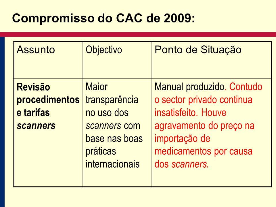 Compromisso do CAC de 2009: Assunto Objectivo Ponto de Situação Revisão procedimentos e tarifas scanners Maior transparência no uso dos scanners com base nas boas práticas internacionais Manual produzido.