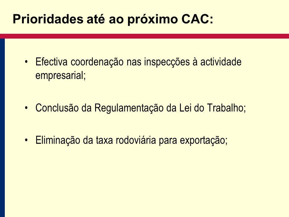 Prioridades até ao próximo CAC: Efectiva coordenação nas inspecções à actividade empresarial; Conclusão da Regulamentação da Lei do Trabalho; Eliminação da taxa rodoviária para exportação;
