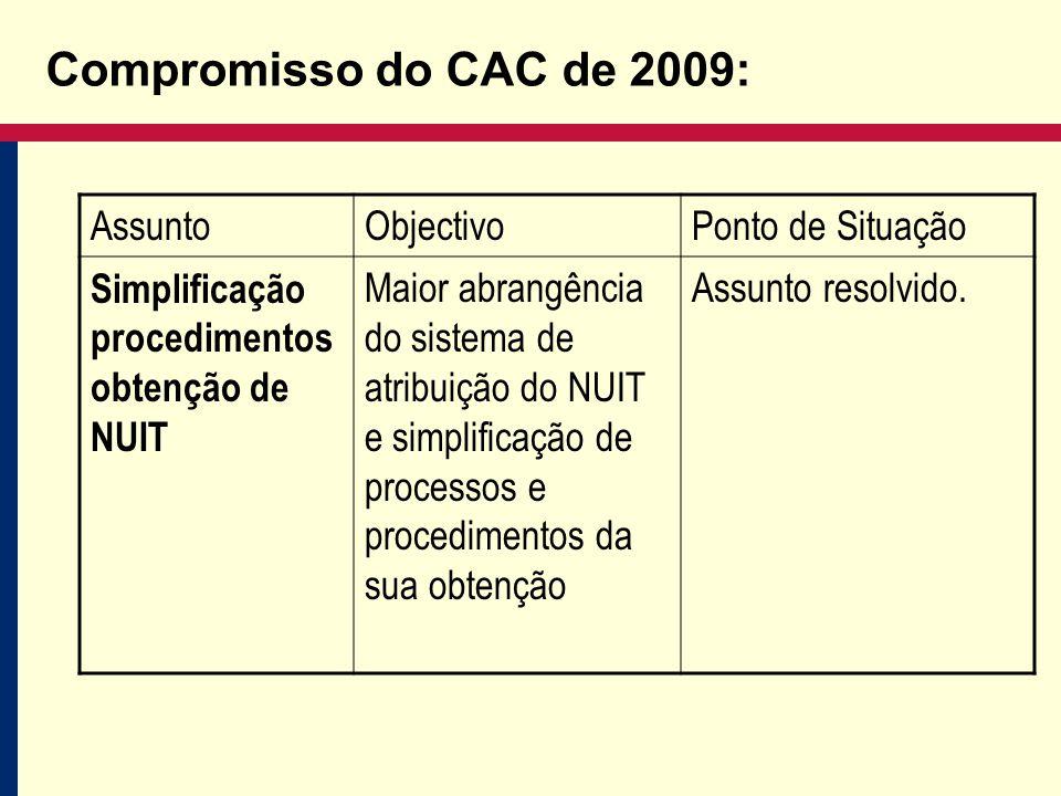 Compromisso do CAC de 2009: AssuntoObjectivoPonto de Situação Simplificação procedimentos obtenção de NUIT Maior abrangência do sistema de atribuição do NUIT e simplificação de processos e procedimentos da sua obtenção Assunto resolvido.