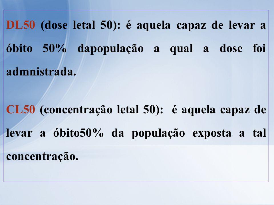 DL50 (dose letal 50): é aquela capaz de levar a óbito 50% dapopulação a qual a dose foi admnistrada. CL50 (concentração letal 50): é aquela capaz de l